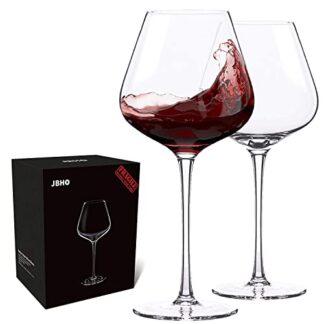Hand Blown Crystal Burgundy Wine Glasses