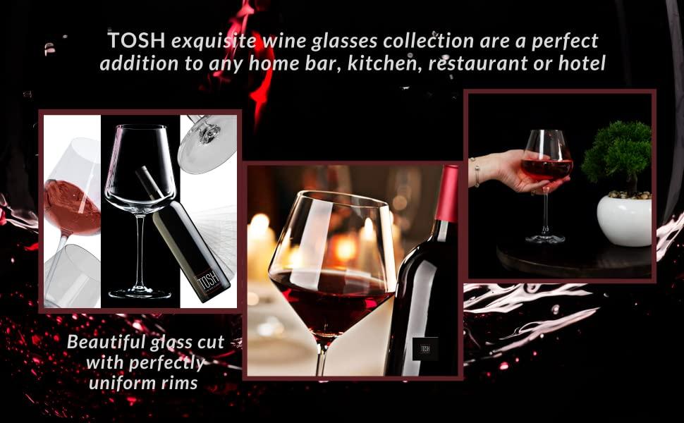 TOSH Wine Glasses Set of 4